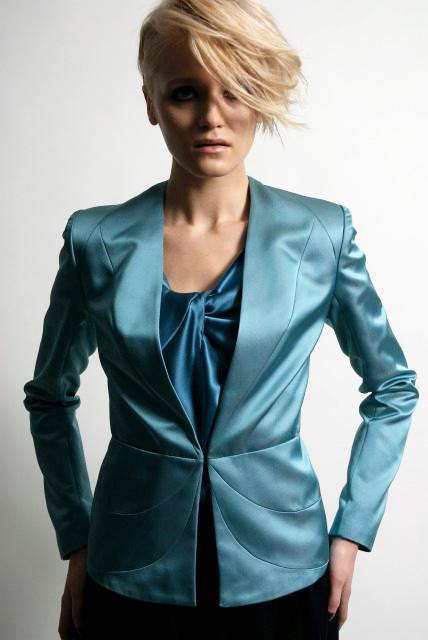 turquoise silk jacket